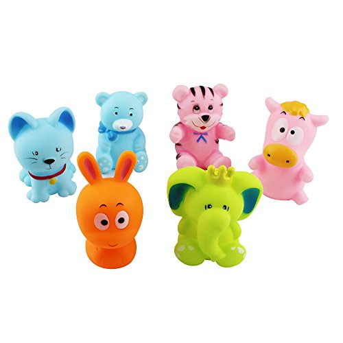 Sealive 6 pcs New Cartoon Play sets, Water squirt toys for Children Kids Baby, Bath Pool Tub Animals Sounding Toys Childhood Swimming for 6-36 months baby using,elephant,tiger,bear,cat,hippo,rabbit