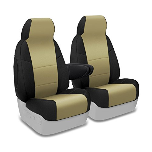 Coverking Custom Fit Front 50/50 Bucket Seat Cover for Select Ford E-Series Models - Neosupreme (Tan with Black sides) Armrest Coverking Custom Seat Covers
