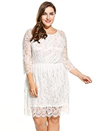 Meaneor Plus Size Women's Long Sleeve Lace Party Club Dress