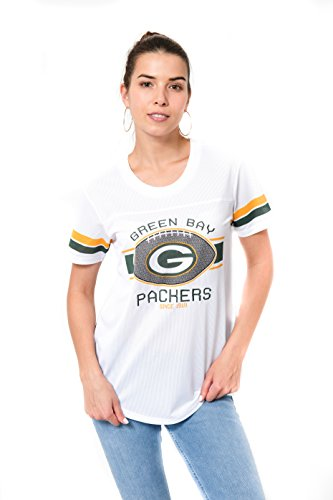 (Icer Brands NFL Green Bay Packers Women's Jersey T-Shirt Mesh Varsity Stripe Tee Shirt, Large, White)