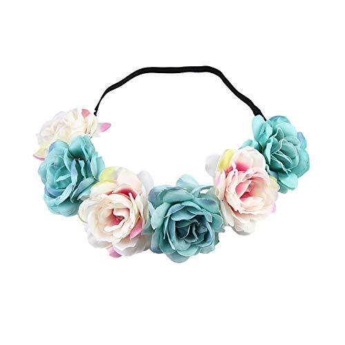 Women Children girls Wedding Flower Bride Wreath Floral Garlands Bride Headband Hair band Hair Accessories,Beige