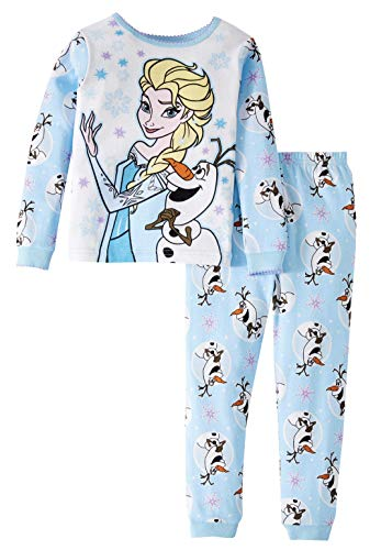 Disney Frozen Elsa and Olaf Little Girls Toddler 2 Piece Pajama Set (5T),Blue