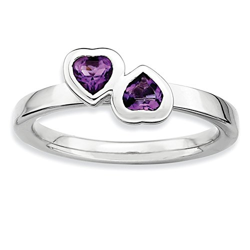 (Stackable Expressions Sterling Silver Simulated Amethyst Double Heart Ring - Size 10)