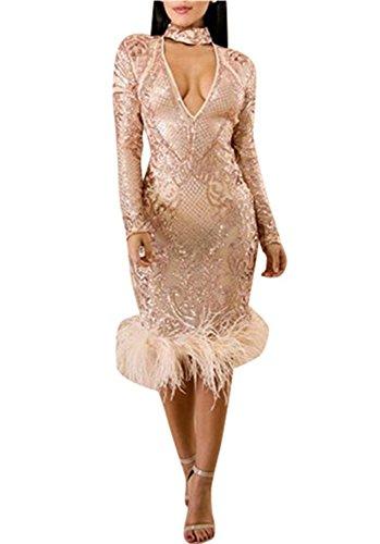 V-FANCY Women Choker V Neck Sequin Club Party Dress, Rose Gold, Large