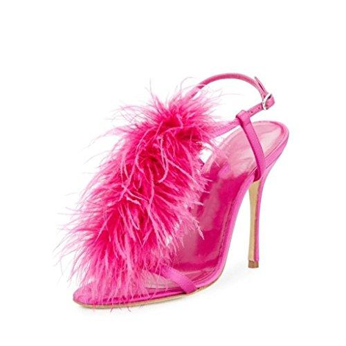 Pump Schuhe Schnallen Heels Abend Damen Peep Feder Toe High Court Sandalen Party Ankle Shiny PAwRBHq4