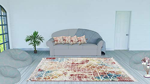 (ThymeHome 4.5'7' Amber Cotton Printed Accent Dhurrie Rug Hand Woven Chic Indian Bohemian)