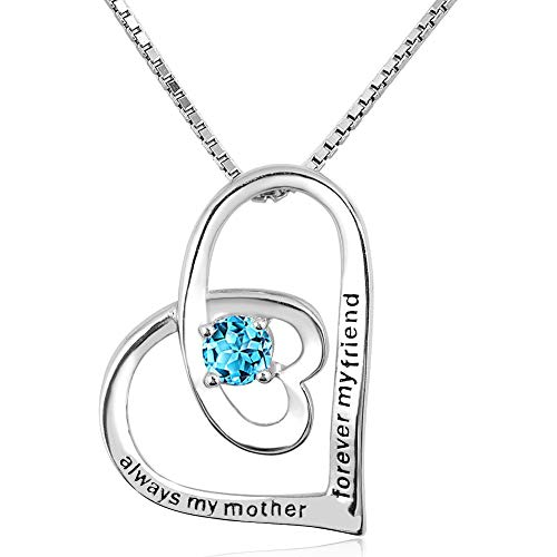 - Infinite Memories - Always My Mother Forever My Friend - 925 Sterling Silver Necklace Aqua Blue Birthstones CZ Crystal for Mom