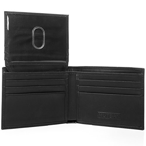 RFID Blocking Bifold Wallet Passcase with Full Grain Leather and Flip Up ID By Mutbak - Fashion Vegas Mens Las