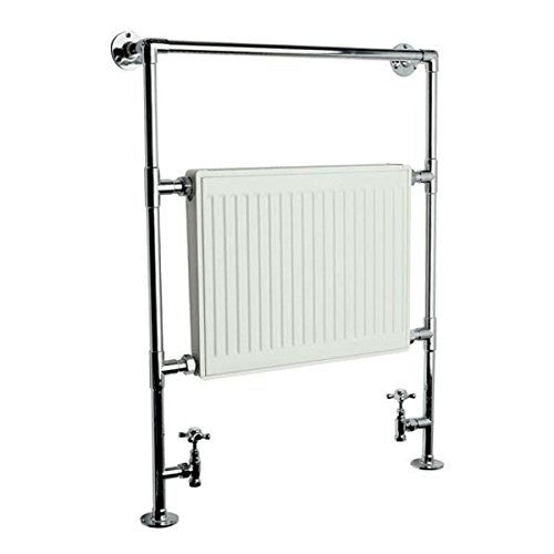 Hudson Reed Duchess Hydronic Heated Towel Warmer Radiator Rail 37' x 26.8' Brass Construction - Chrome & White Finish - Valves Included