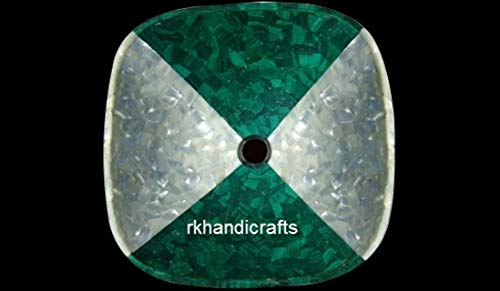 Counter top Washbasin, Restaurant & Bar Vessel, Kitchen Sink made From White Mother of Pearl & Malachite Semi precious Stones Handcrafted from Indian Cottage Art size 18 Inches