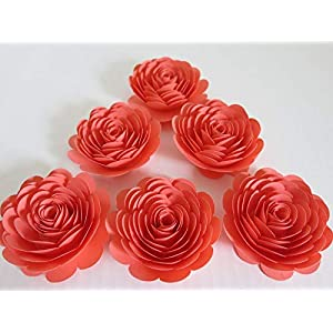 """Coral Paper Roses, 3"""" Paper Flowers, Set of 6 Salmon Wedding Flowers, Bridal Shower Decor, Princess Theme Tea Party Decorations Baby Nursery Wall Home Decor 66"""