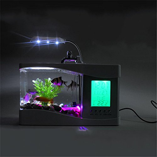 Yunt fish bowls mini desktop aquarium usb fish tank lcd for Desktop fish tank