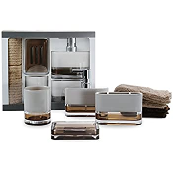 Immanuel 6 piece ms acrylic two tone brown white bathroom accessories gift set with for Two tone bathroom accessories