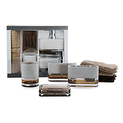 IMMANUEL 6-Piece MS Acrylic Two-Tone Brown White Bathroom Accessories Gift Set with Box, Toiletries Organizer, Modern Home Decoration, Tumbler, Soap Dispenser, Toothbrush Holder, Soap Dish Included - ORGANIZE YOUR BATHROOM: The ideal set for immaculately organizing the common items in your bathroom. No more messy countertops or bathroom sinks. Organize your cotton pads, lotion, soap, and more! HIGH QUALITY AND FINISH: Made of high quality MS Acrylic, this bathroom accessory set is highly durable and less prone to scratches. The MS Acrylic also gives the set a luxurious, elegant finish with deep, rich colors. LUXURY BATHROOM ACCESSORY SET: A highly aesthetic, durable and elegant 6-piece bathroom accessory set which includes a lotion/liquid soap dispenser, a tumbler, a soap dish and two towels. - bathroom-accessory-sets, bathroom-accessories, bathroom - 41bJeqNi jL. SS400  -