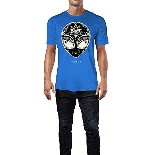 SINUS ART ® Aliengesicht mit Iluminaten Symbol Herren T-Shirts in Blau Fun Shirt mit tollen Aufdruck