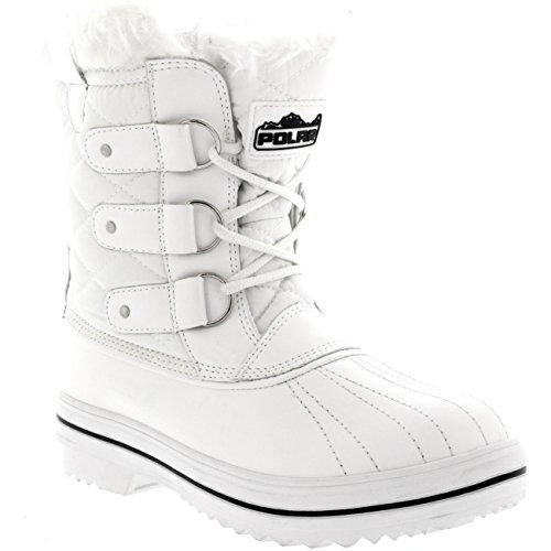 Polar Produkte Damen Schneestiefel gesteppte kurze Winter Schnee Regen warme wasserdichte Stiefel Polarweiß