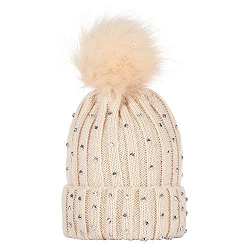 Ladies Hat Fedora Furry (XOWRTE Baby Children Rhinestone Winter Warm Fur Knitted Wool Hemming Kids Cap Hat)