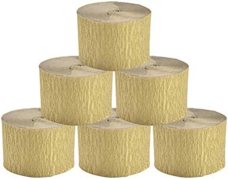 Healifty 10ピースクレープ紙装飾的な吹流しロール紙diy手芸パーティー結婚式祭り(ゴールデン)