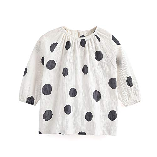 - Aimama Toddler Girls Long Sleeve Cotton T-Shirt Summer Dot Printed Round Neck Infant Girls Tops Clothes White Tee for 1-6T