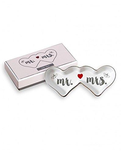 Porcelain Rose Jewelry Set - Fashionest Jewelry FASHIONEST MR. & MRS. HEARTS TRAY - Women/Men Gold and Silver Jewelry/Trinkets - Jewelry Organizer Tray