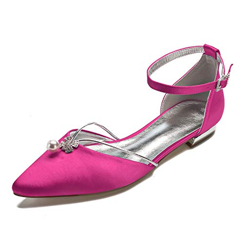 Creativesugar Lady Elegant Pointed Toe Satin Dress Flats Shoes with Pearl and Crystals (8, Hotpink) ()