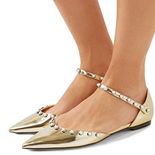 Xyd Mujer Acentuado Dedo Del Pie Dorsay Flats Tobillo Strap Cutout Marry Jane Pearl Tachonado Ballet Zapatos Oro