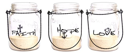 (3-Piece Hanging Mason Jar Lanterns with Tealight Faith Hope Love by Divinity Boutique)