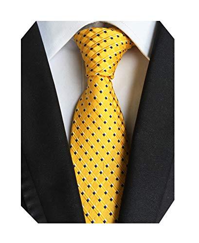 MENDENG Classic Silk Tie Yellow Black Stripe Plaid Neck Ties Men Necktie ()