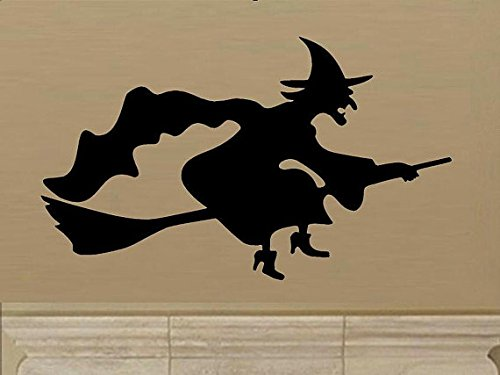 wall decal Flying witch silhouette D2 halloween decal halloween decor witch decal witch broom home decor living room decal entry decal decor ()