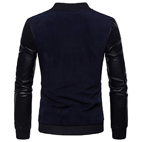 blue Collar Coat Navy Faux Men Long Stand Plus Sleeve Leather RkBaoye Size xPqTxI