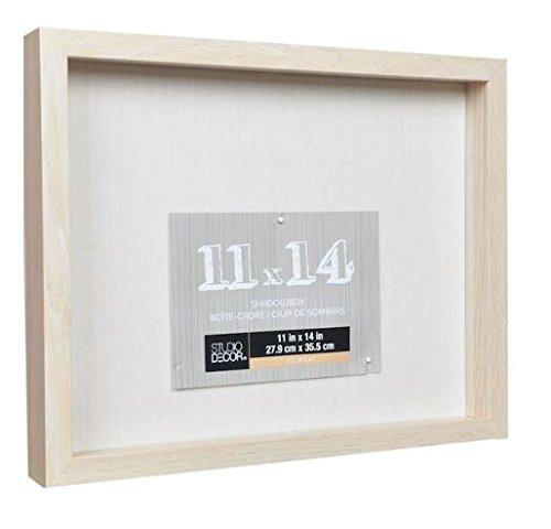Studio Decor Heavy Duty Wood Frame 1'' Depth Shadow Box Display Case Nursery Wedding Graduation (Blonde, 11''x14'')
