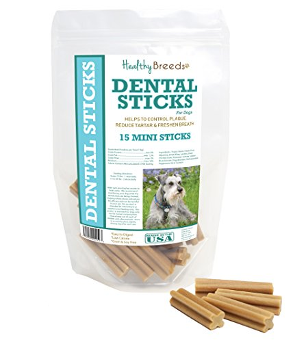 Healthy Breeds Dog Dental Stick Treats for Miniature Schnauzer - OVER 200 BREEDS - Easier Than Wipes Rinses Spray Toothbrush or Toothpaste - 15 Mini Sticks