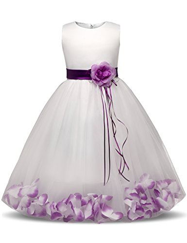 NNJXD Girl Tutu Flower Petals Bow Bridal Dress for Toddler Girl Size 4-5 Years Big Purple