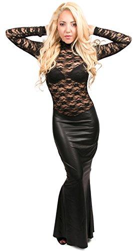 Kleid Langes Schwarz Noir Rock mit S Spitzen Handmade aus Raffung Wetlook XXXL SEzrE