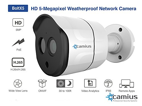 CAMIUS 5 Megapixel (2592TVL) Super HD PoE/IP Bullet Security Camera Weatherproof, ONVIF, Night Vision 100 Feet, with Wide Angle Lens, BoltX5
