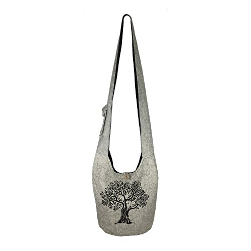 (Fair Trade Large Sling Crossbody Shoulder Bag Purse Hippie Hobo Gypsy Bohemian (Grey Tree))