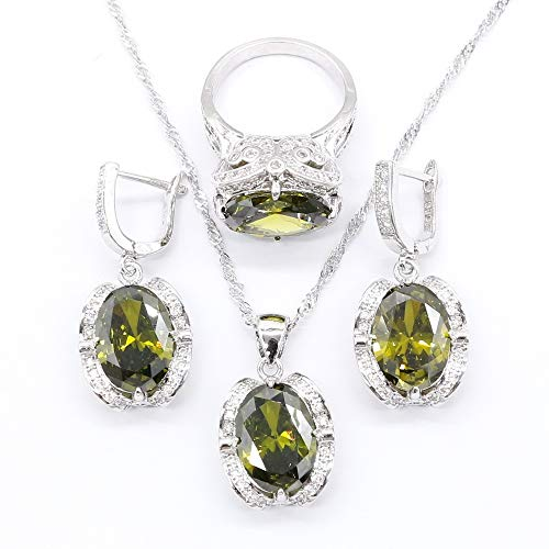 Aixili Olive Green Jewelry Sets for Women Silver 925 Stamped Necklace Pendant Earrings Ring Bridal Wedding Jewelry (9)