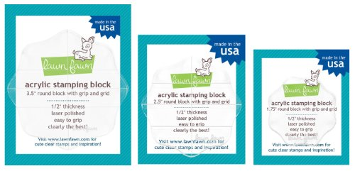 3 Lawn Fawn Round Clear Acrylic Stamping Blocks LF496, LF497 & LF498 With Grip & Grid - Includes Sizes of 1-3/4