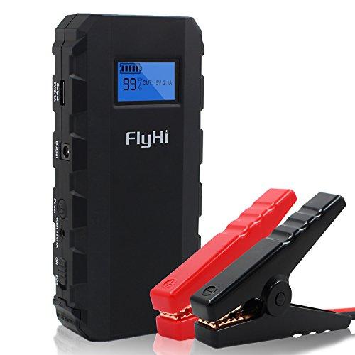 FlyHi 500A Peak 13600mAh Portable Car Jump Starter Phone Power Bank(Up to 4.2 L Gas or 3.0 L Diesel Engine),with 5V USB Charging Port,12V/16V/19V Laptop Charging ,LCD Display, LED Flashlight Image