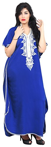 Moroccan Caftan Hand Made Top Quality Breathable Cotton with Hand Embroidery Long Length Blue by Moroccan Caftans (Image #5)