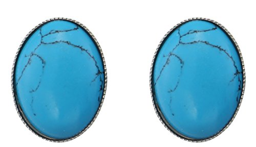 Turquoise Clip Earrings - Blue Oval Simulated Turquoise Clip-On Earrings Jewelry for Women