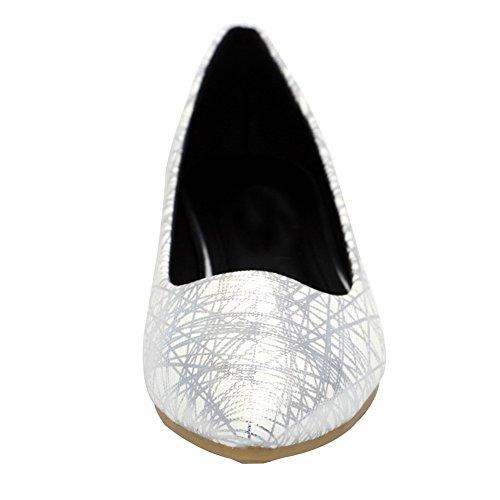 AalarDom Mujer Sin cordones Puntera en Punta Material Suave Colores Surtidos Plano Blanco