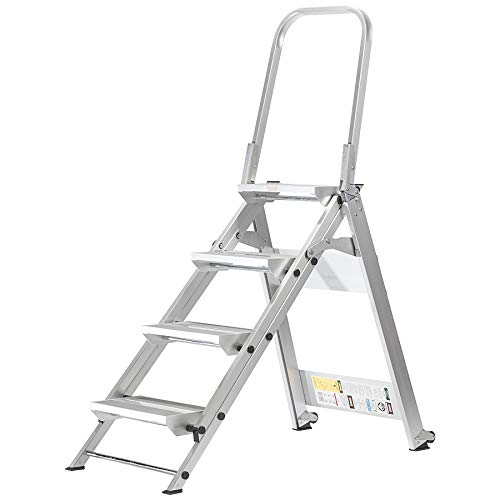Aluminum Duty Step - Xtend & Climb WT4 Professional Series Folding Step Stool with Handrail, 4-Step