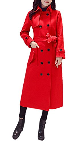 Women's Thicken Woolen Elegant Double-Breasted Lapel Long Maxi Pea Trench Coat with Belt