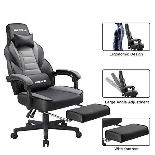 - Gaming Office Chair Gaming Chair Racing Style Adjustable Height High-Back PC Computer Chair Executive and Ergonomic Style Swivel Chair with Footrest, Headrest and Lumbar Support (Grey)
