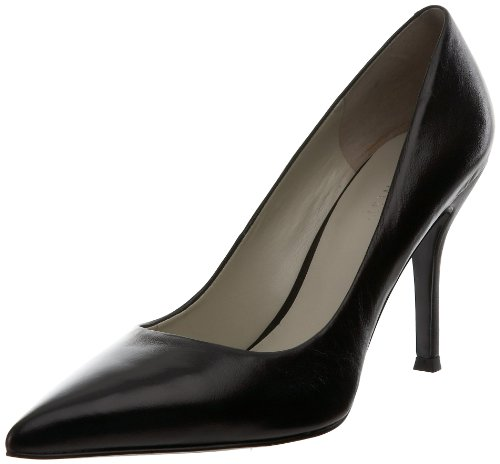 Nine West Women's Flax Synthetic Dress Pump, Black Leather, 5.5 M US