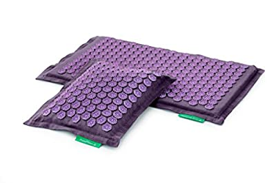 THERAPEUTIC MANUAL MASSAGE SET PRANAMAT ECO (Pranamat massage mat + PranaPillow massage pillow) for Sciatica, Scoliosis, Herniated Disc, Chronic low_er back pain, Muscle pains or just for Well Being