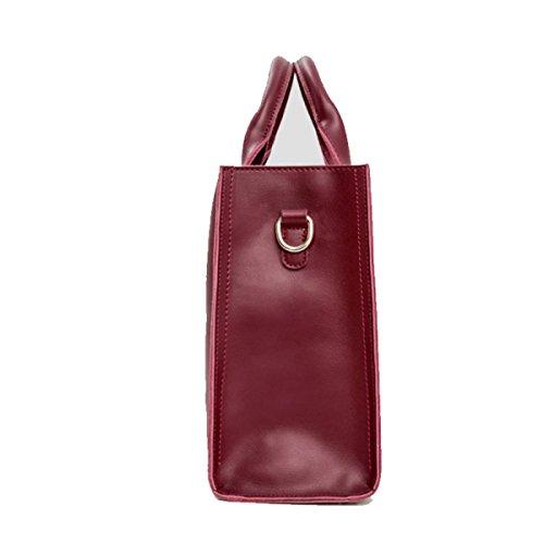 Mujer Bolso Moda Simple Bolso De Cuero Bolso De Hombro Redwine