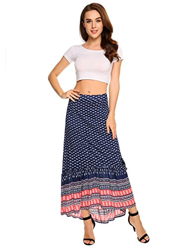 Zeagoo Women's Ankle Length African Printed Floral Long Maxi Skirts