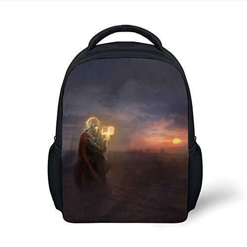 iPrint Kids School Backpack Fantasy,General Leading His Army in War Infantry Knight Armour Battle Scene in Dark Night,Multicolor Plain Bookbag Travel Daypack (Battle Armour)